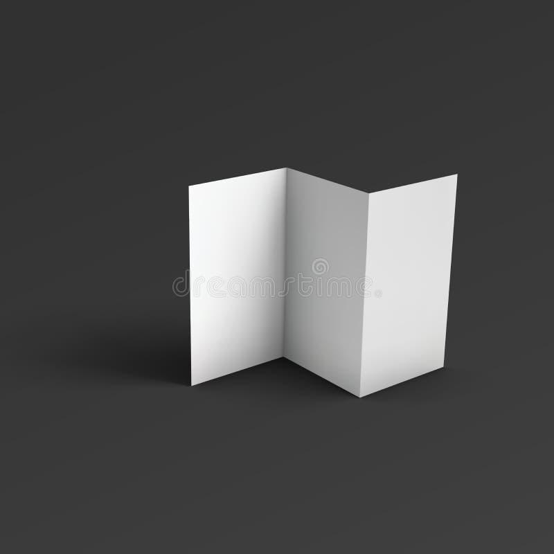 空白的三部合成的纸小册子 皇族释放例证