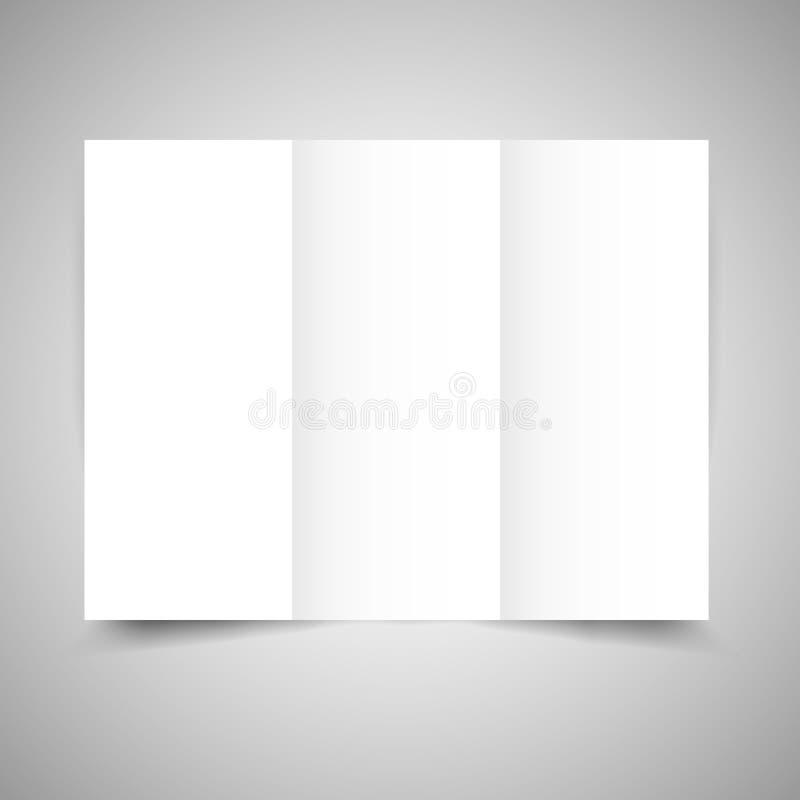 空白的三部合成的纸小册子 向量例证
