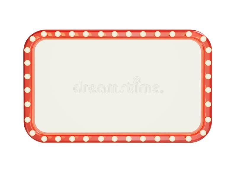 空白的与在白色背景隔绝的电灯泡的商品型号红色框架 库存例证