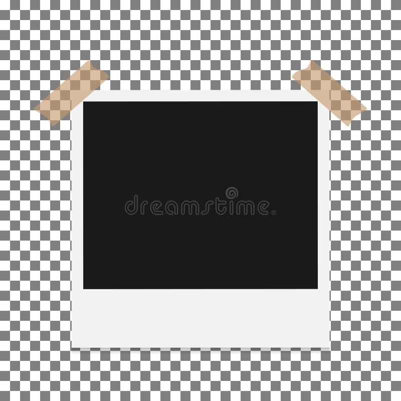 空白的与在透明背景,屏蔽效应隔绝的橡皮膏的照片偏正片框架和 向量例证