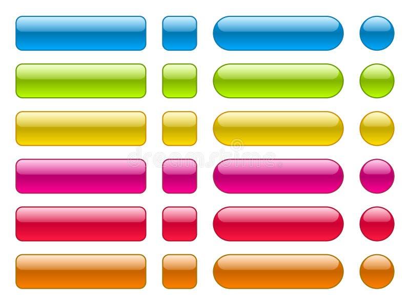 空白的五颜六色的按钮的汇集 皇族释放例证