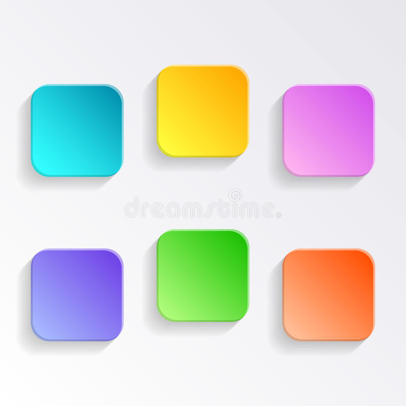 空白的五颜六色的按钮 向量例证
