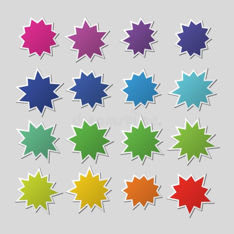 空白的五颜六色的纸starburst迅速增加,爆炸形状 破裂讲话泡影的动画片 景气销售贴纸传染媒介 库存例证