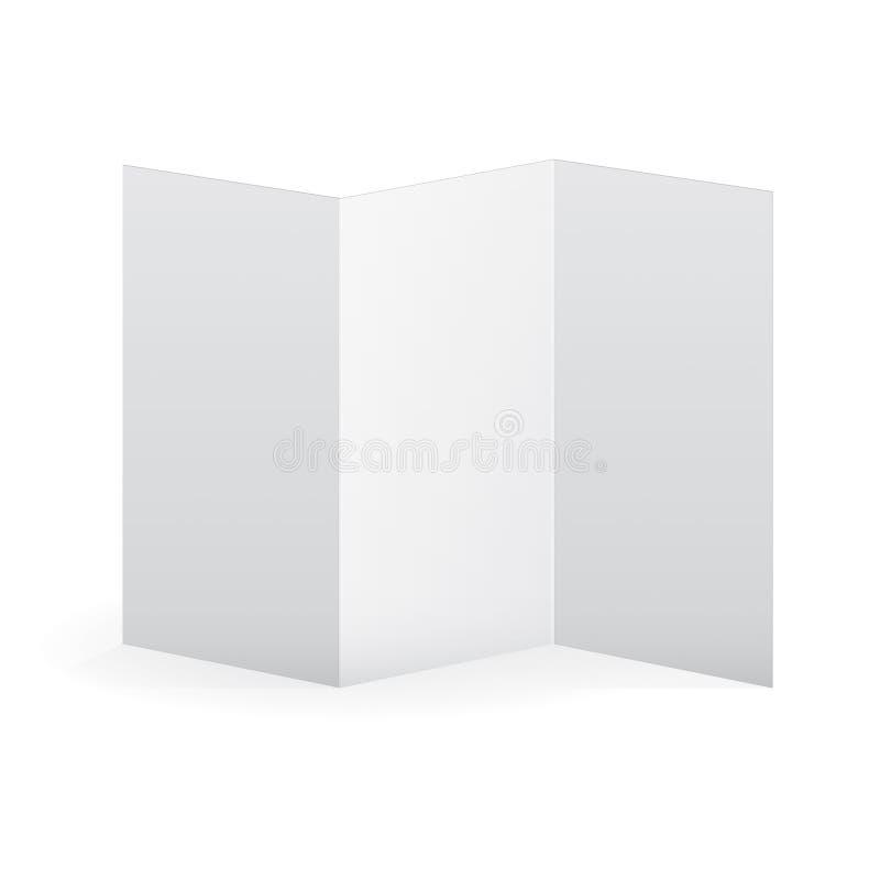 空白的传染媒介白色三部合成的小册子模板 库存例证