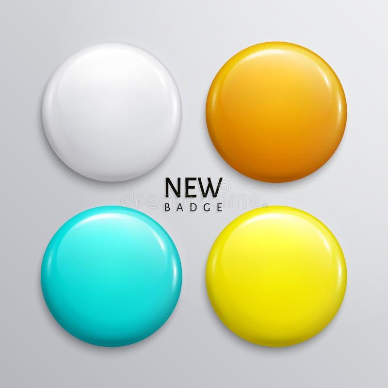 空白的光滑的徽章、别针或者网按钮 四块颜色,白色橙色绿松石和黄色传染媒介 库存例证