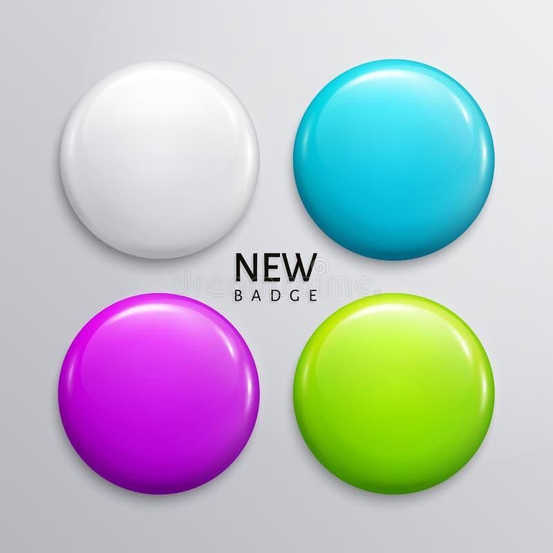 空白的光滑的徽章、别针或者网按钮 四颜色、白色、桔子、绿松石和黄色 向量 向量例证