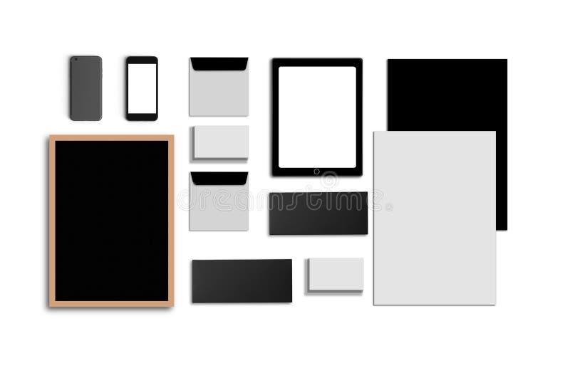 空白的公司ID 设置被隔绝在白色 包括名片,文件夹,片剂个人计算机,信封, a4信头 库存照片