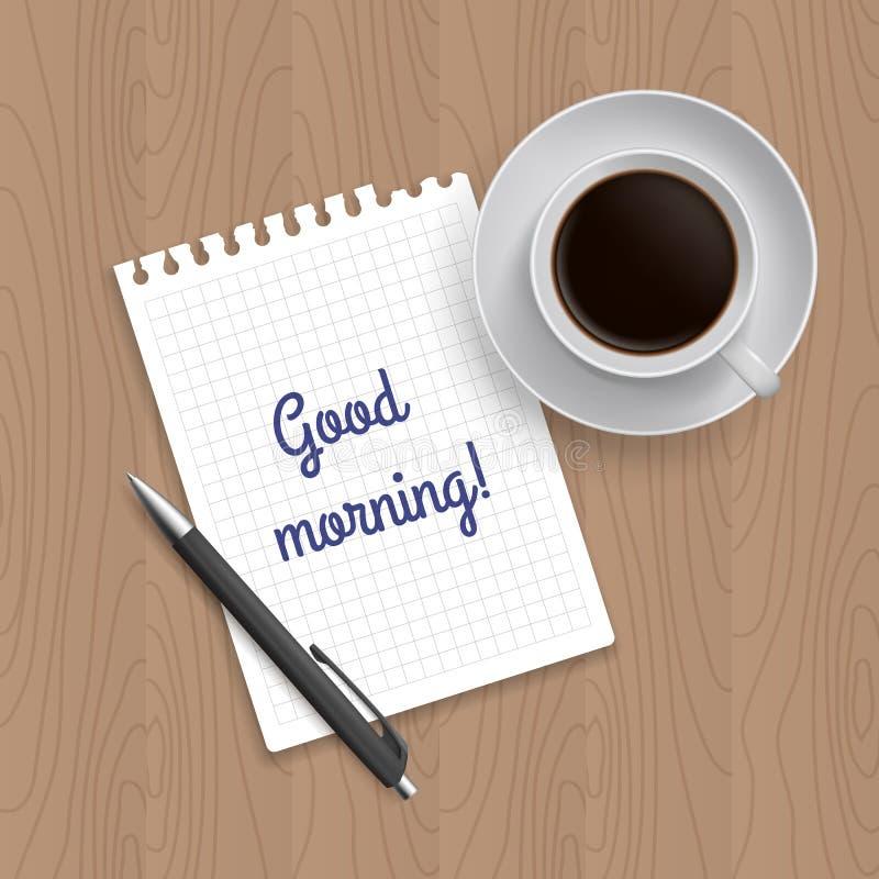 空白的写字板、笔和咖啡 向量例证