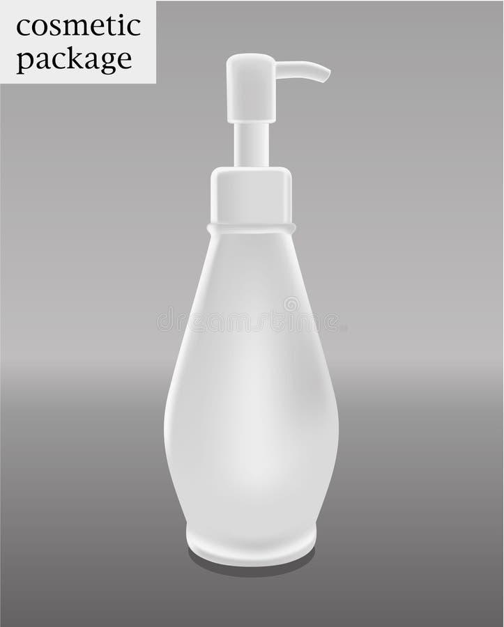空白的化妆包裹收藏-包装在白色背景的胶凝体清洁剂 向量例证