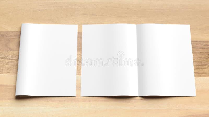 空白的双折叠A4大小小册子嘲笑在木背景 3d 免版税库存图片