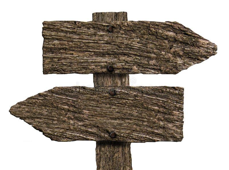 空白的双重方向木标志(在白色) 库存图片