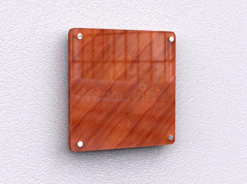 空白的发光的木内部办公室公司标志板材嘲笑,办公室名字板极嘲笑在墙壁上 标志盘区,商店 库存例证