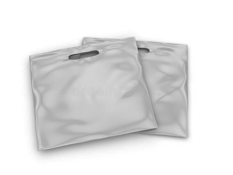 空白的嘲笑设计的补丁把柄载体塑料袋 3d例证回报 皇族释放例证