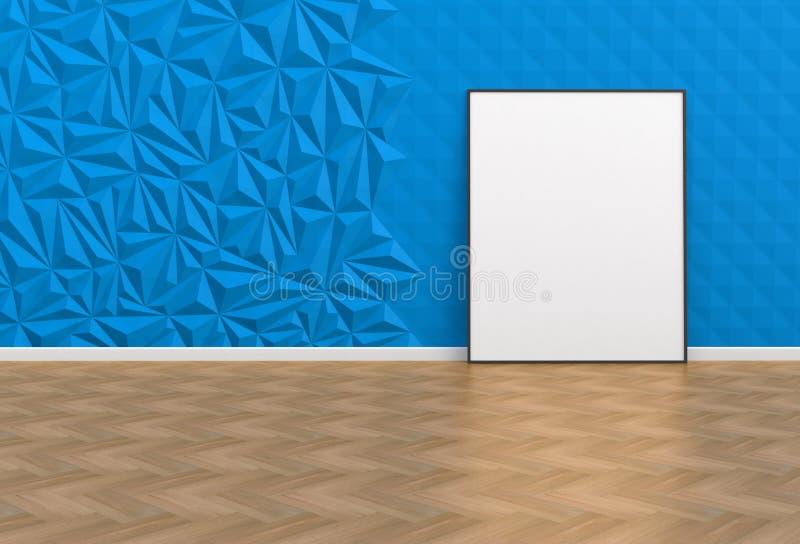 空白的图片在一间蓝色屋子 向量例证