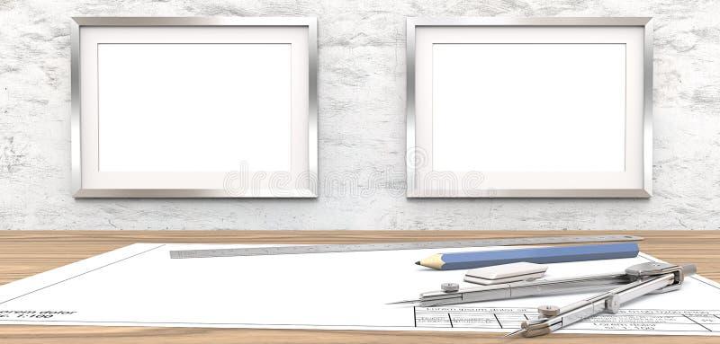 空白的图画和框架的拷贝空间 皇族释放例证