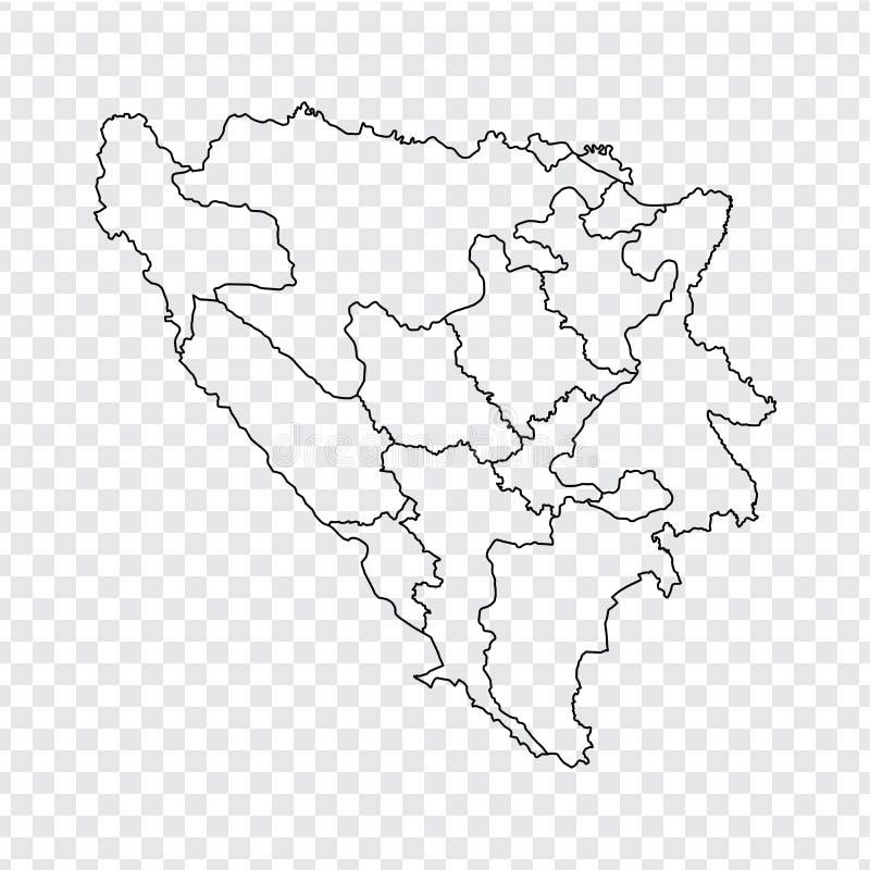 空白的地图波黑 波黑的优质地图有省的在您的透明背景我们 向量例证