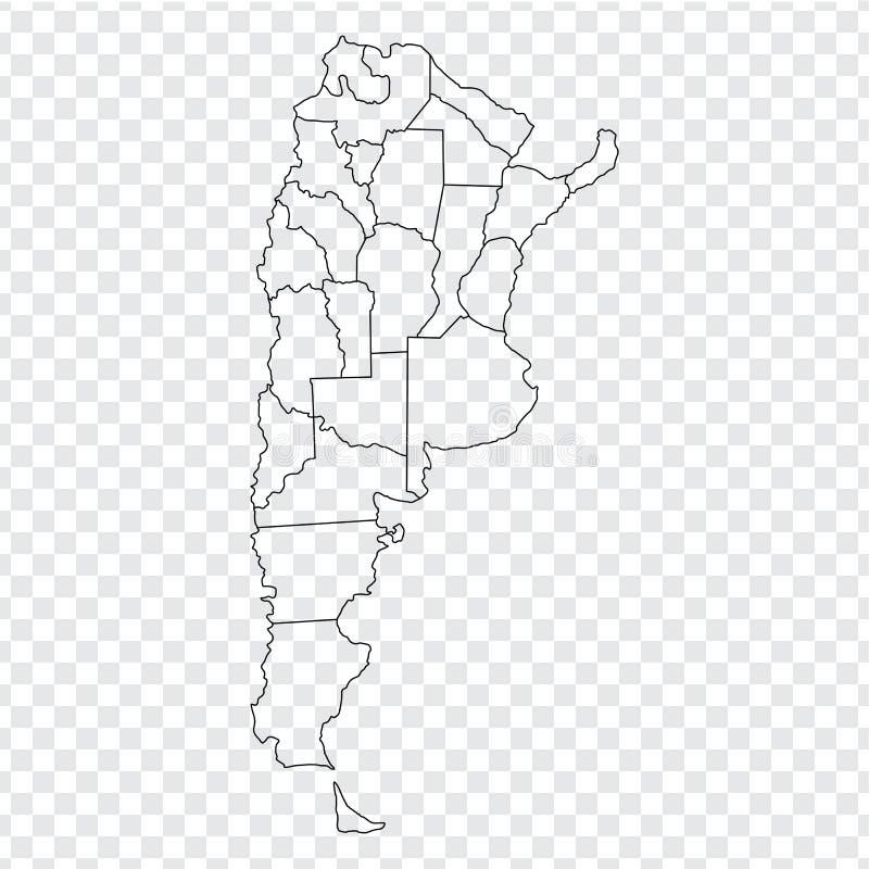 空白的地图阿根廷 与省的优质地图阿根廷在您的网站设计的透明背景,商标,应用程序,UI 库存例证