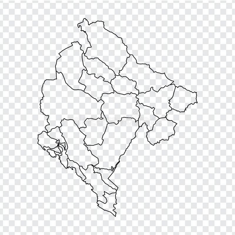 空白的地图黑山 黑山的优质地图有省的在您的网站设计的透明背景,商标,应用程序 皇族释放例证
