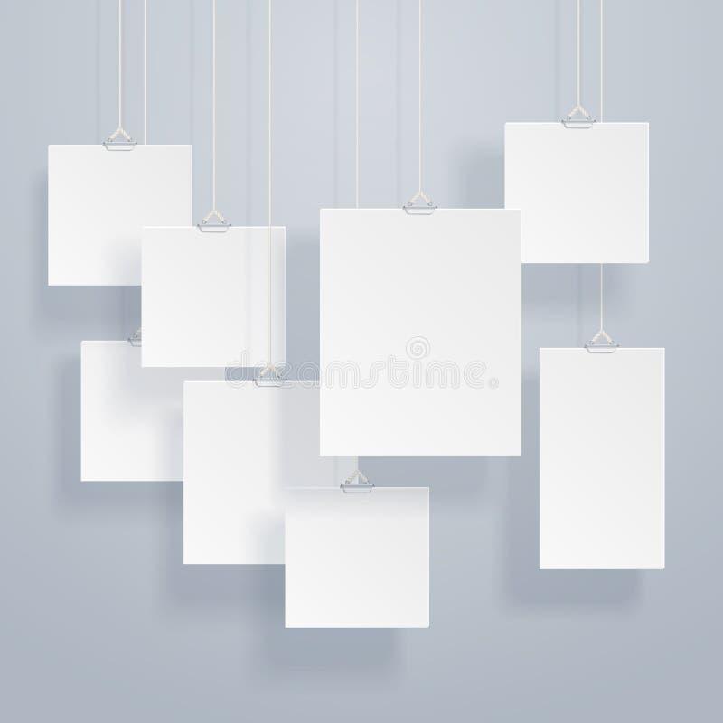 空白的垂悬的照片框架或海报模板与下落阴影在墙壁传染媒介集合 库存例证