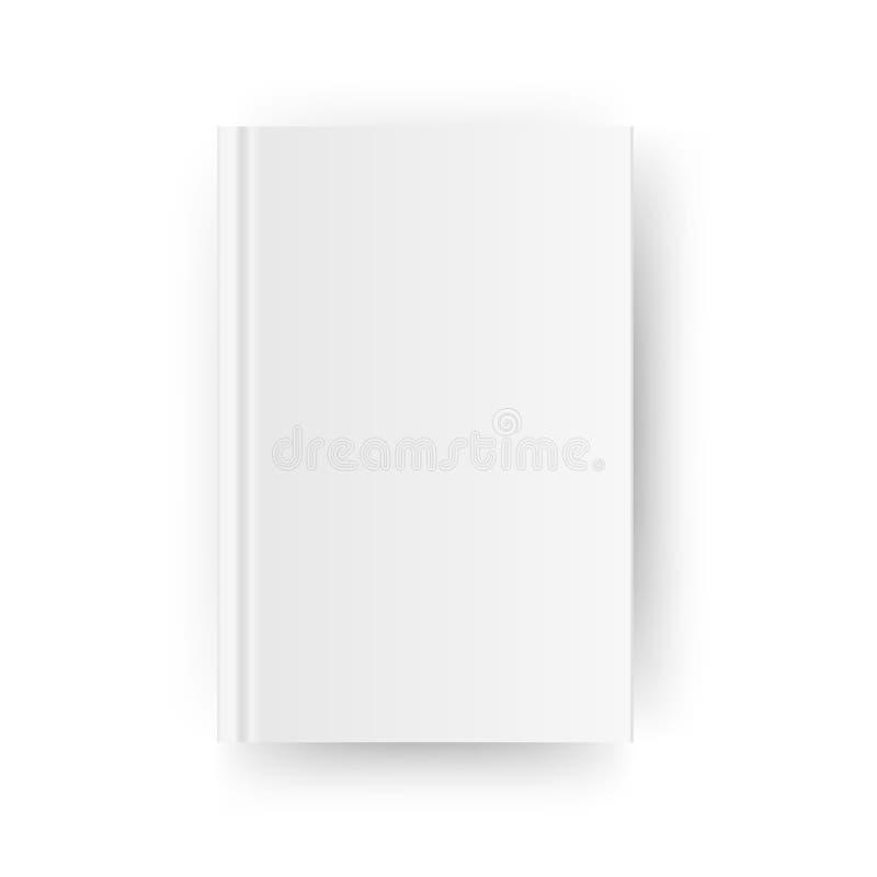 空白的垂直的书套模板 闭合的杂志或笔记本的嘲笑 背景查出的白色 向量 皇族释放例证