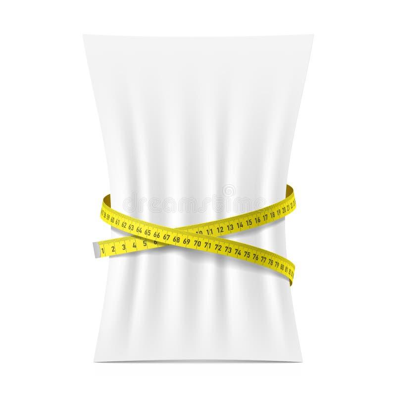 空白的垂直A4纸板料由措施磁带紧压了 库存例证