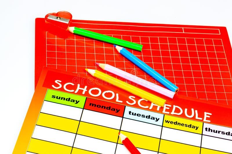 空白的学校日程表 库存图片