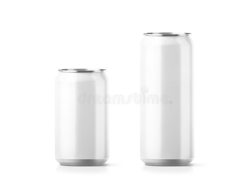 空白的小和大铝汽水罐大模型 向量例证