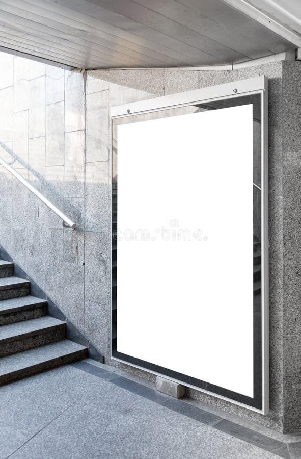 空白的广告牌或海报在大厅里 库存图片