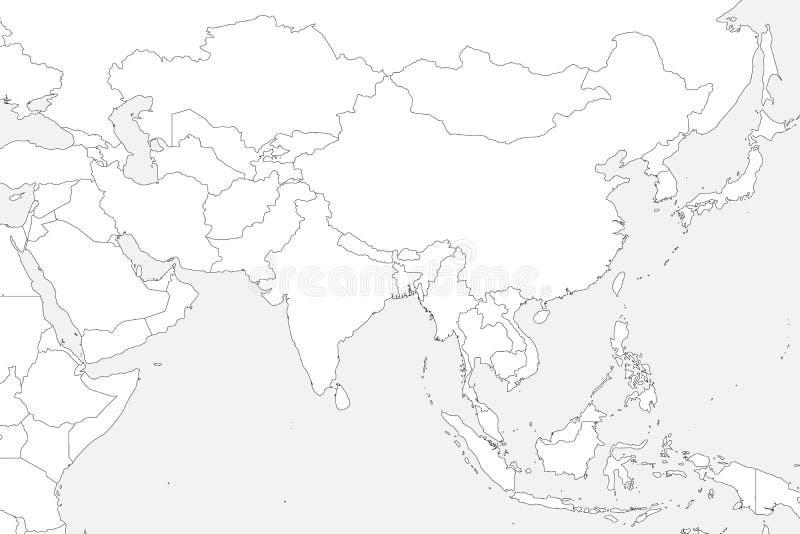 空白的政治地图西部,南部和东亚 在浅灰色的背景的稀薄的黑概述边界 向量 向量例证