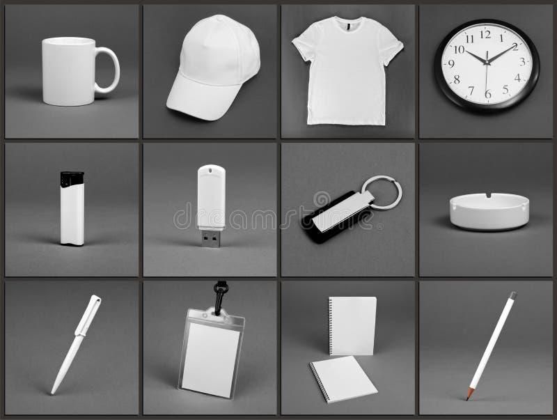 空白的文具为在灰色backg的公司本体系统设置了 免版税库存图片