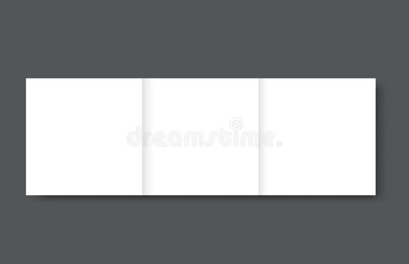 空白的方形的三部合成的小册子大模型盖子模板 皇族释放例证