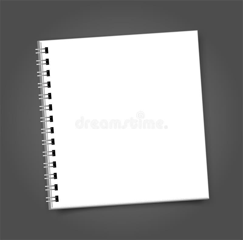 空白的方形的笔记本日历大模型盖子模板 皇族释放例证