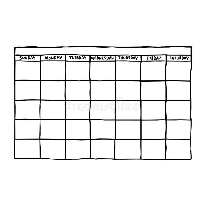 空白的日历-导航例证剪影手拉与blac 向量例证