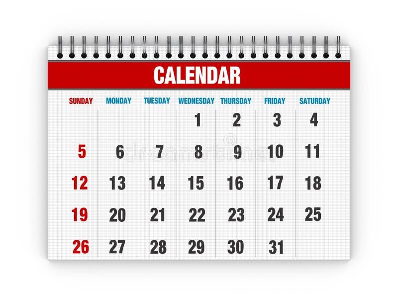 空白的日历 向量例证