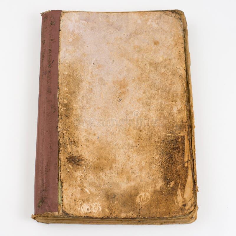 空白的旧书顶视图与在白色背景隔绝的农庄页的 库存照片
