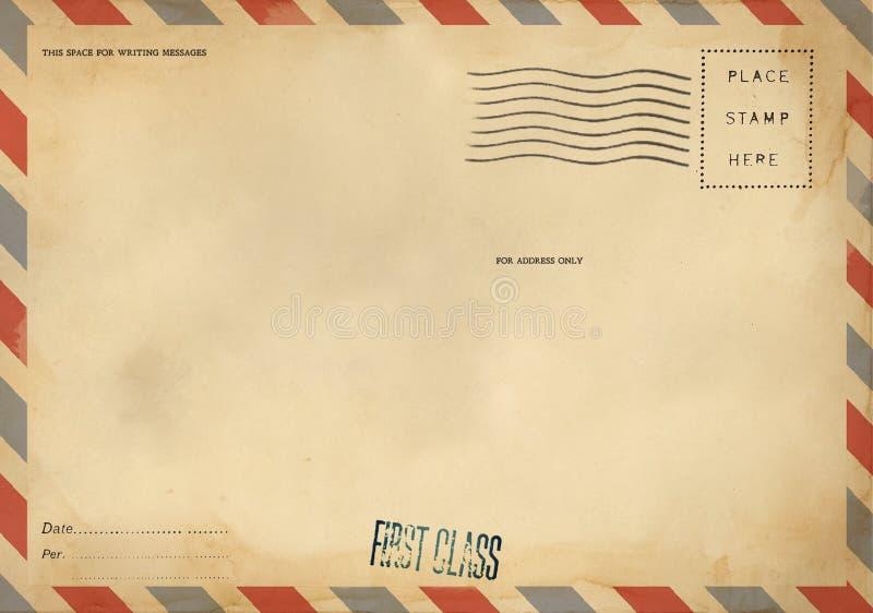 空白的明信片后侧方与肮脏的污点的 库存照片