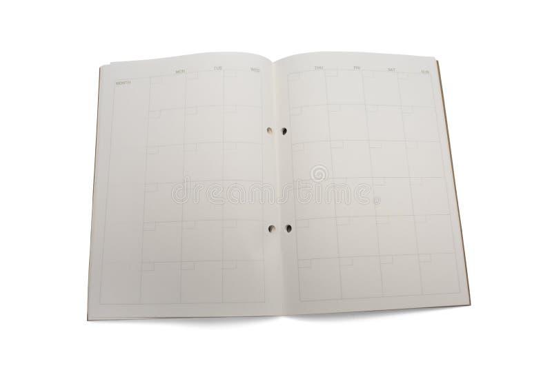 空白的月度计划者 库存图片