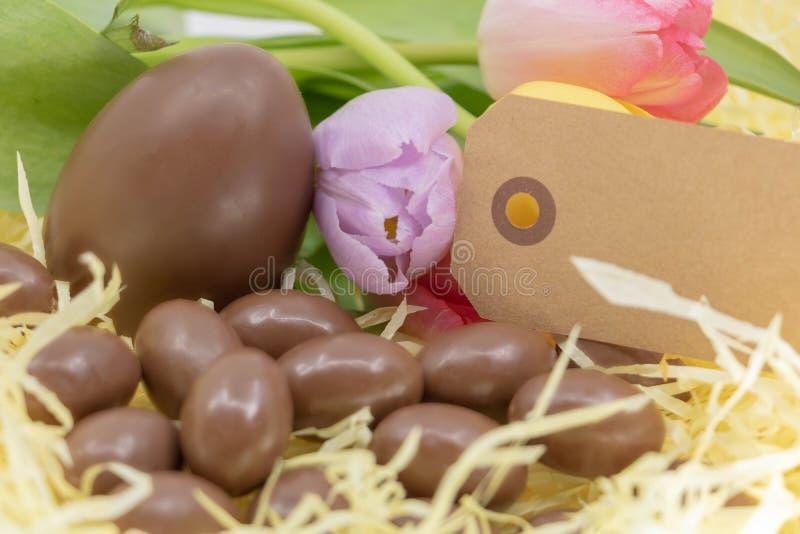 空白的标签、淡色色的郁金香和朱古力蛋复活节和春天到来的 免版税库存图片