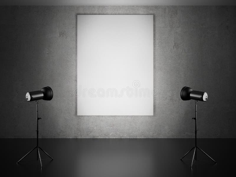 空白的框架和两盏聚光灯 向量例证