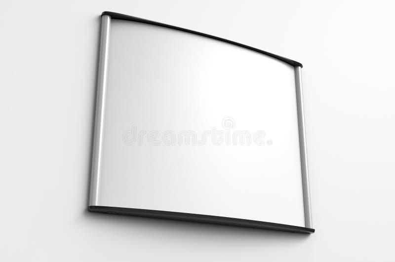 空白的框架门和墙壁标志或名字板极有掠过的金属片的 3d例证回报 向量例证