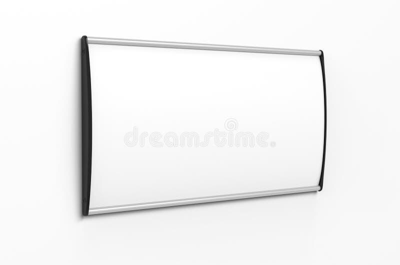 空白的框架门和墙壁标志或名字板极有掠过的金属片的 3d例证回报 库存例证