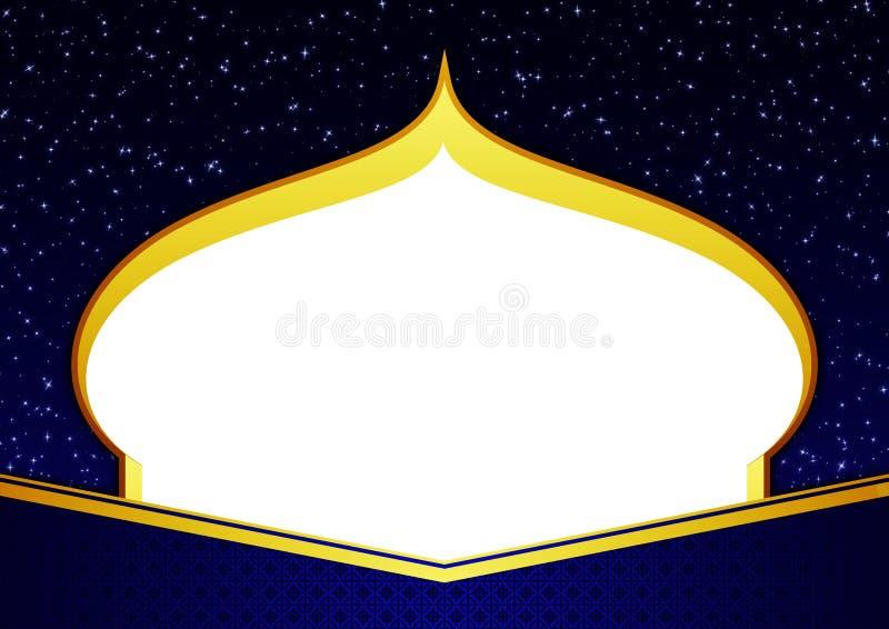 空白的模板愉快的Eid Ramadhan典雅的蓝色和金子贺卡与清真寺Shilloutte,星和装饰品 皇族释放例证