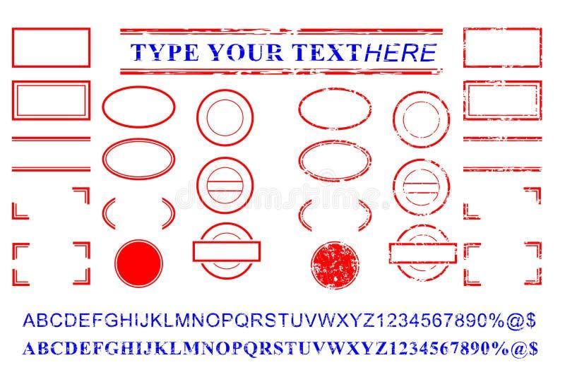 空白的模板红色和蓝色字母表,数字,百分之,美元,小点,星,长方形,排行卵形圈子不加考虑表赞同的人作用 库存照片