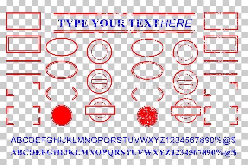 空白的模板红色和蓝色字母表,数字,百分之,美元,小点,星,长方形,排行卵形圈子不加考虑表赞同的人作用 免版税库存照片