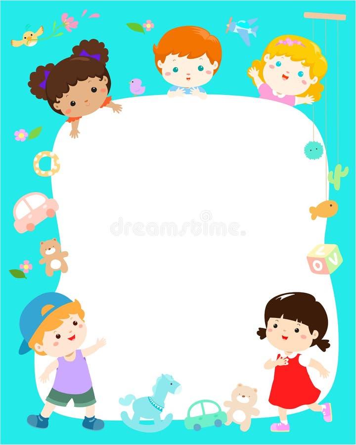 空白的模板逗人喜爱的多种族孩子海报设计传染媒介 向量例证