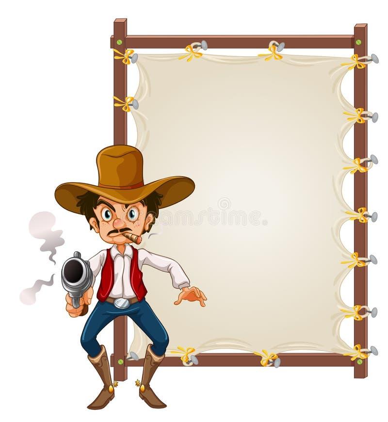 空白的横幅的一位牛仔 向量例证