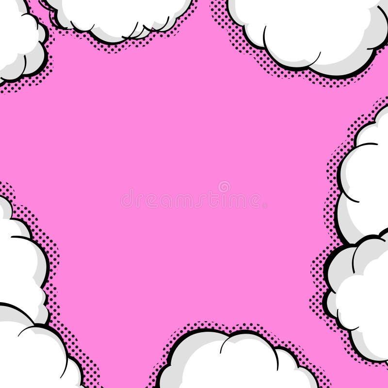 空白的气球模板 小点可笑的背景样式流行艺术 清楚的桃红色讲话起泡中间影调 可笑的文本谈话对话 皇族释放例证