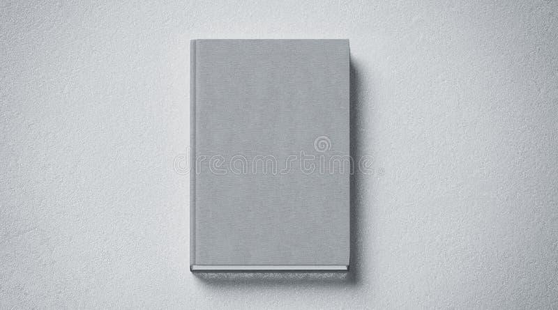 空白的灰色组织的坚硬盖子书嘲笑,前方视图 库存例证