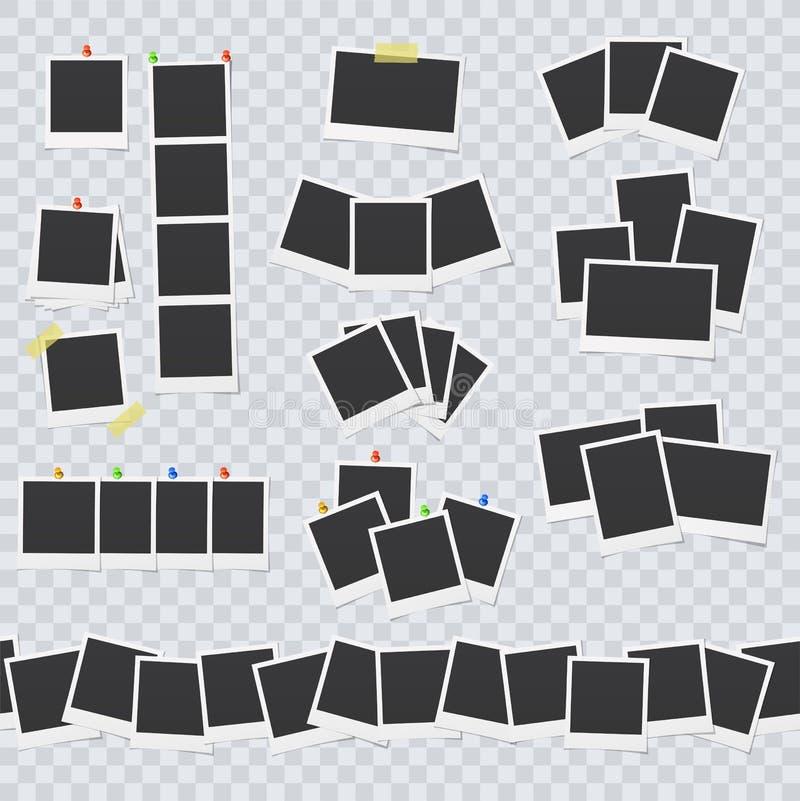 空白的照片框架附有与橡皮膏和别针 向量例证