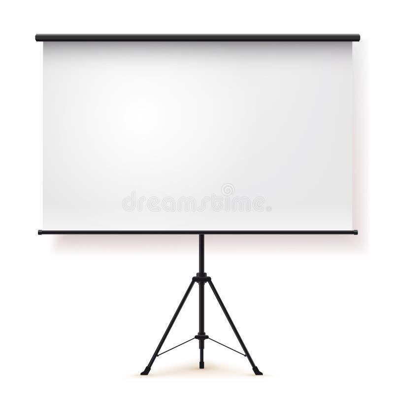 空白的现实三脚架便携式的投影屏 也corel凹道例证向量 背景查出的白色 图库摄影